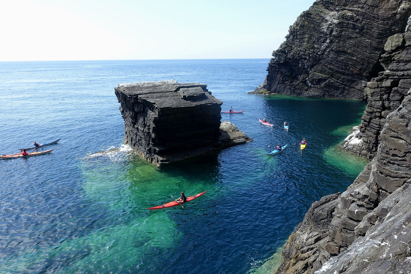 Sea Kayaking around the Anvil rock, Sugarloaf area, Isle of Man
