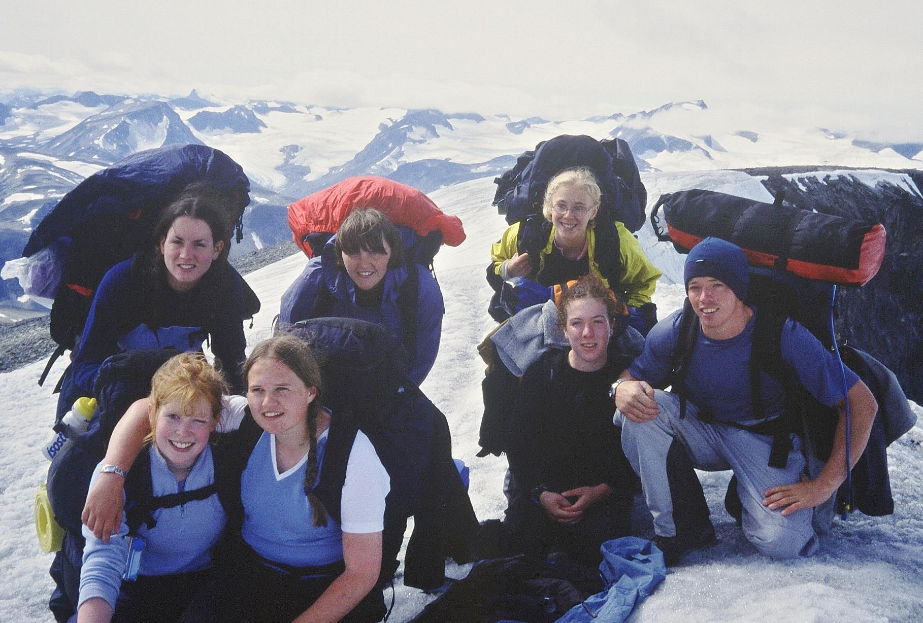 Youth group at top of Galdhøpiggen mountain, Norway in 2003
