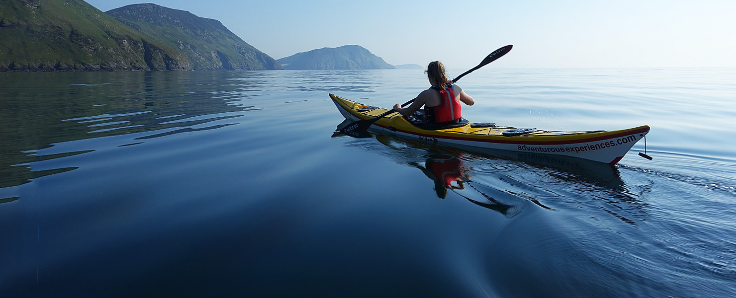 Sea kayaking in Niarbyl bay, Isle of Man