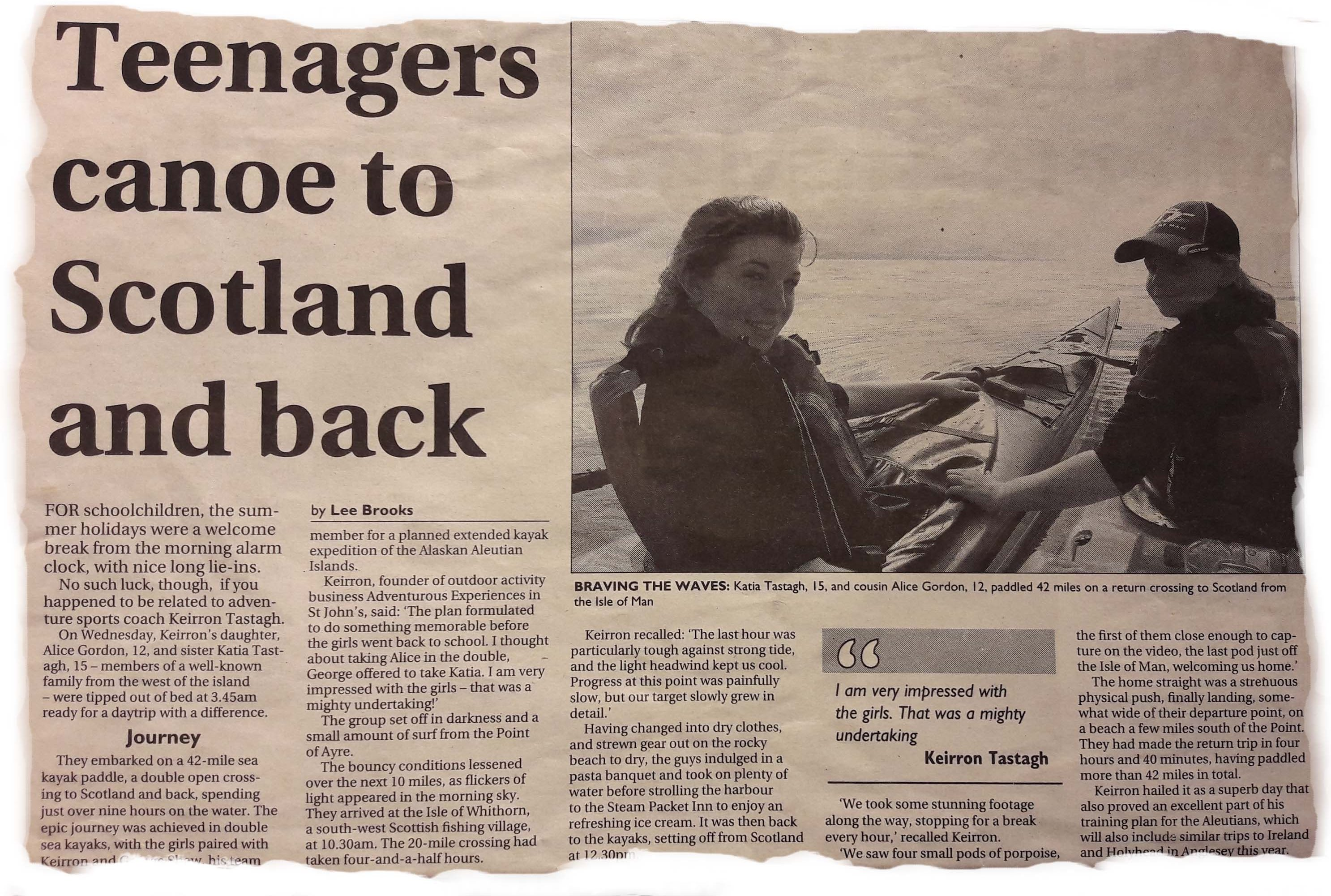 Alice aged 12 and Katia aged 15 kayak to Scotland and back on 31st Aug 2011
