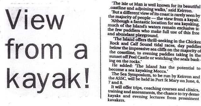 View from a kayak! IoM Courier 8th May '03 advertising the inaugural Isle of Man Sea Kayak Symposium